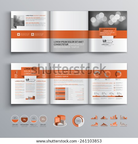 Classic brochure template design with red geometric stripe. Cover layout and infographics