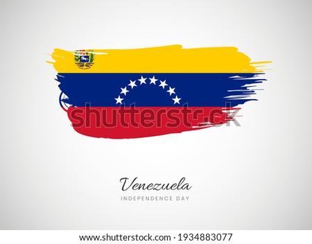 Classic brush flag illustration for Happy independence day of Venezuela background Stockfoto ©