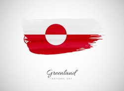 Classic brush flag illustration for Happy national day of Greenland background