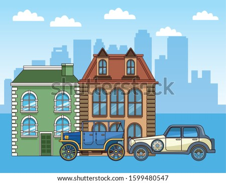 classic buildings and classic cars over urban city background, colorful design, vector illustration