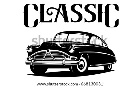 Classic car illustration isolated on white background black and white