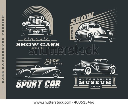 classic car logos illustrations