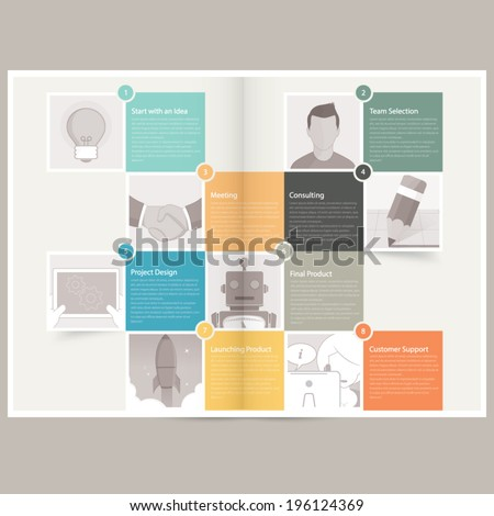 Classic Case Study Booklet brochure design template for business with concept icons
