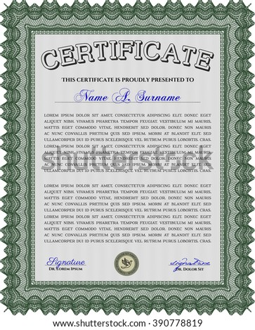 Classic Certificate or Diploma template. Money Pattern design. Green color.