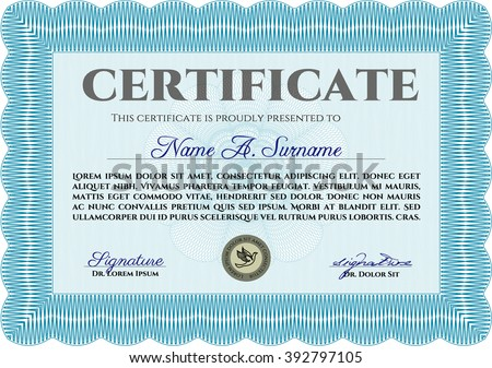 Classic Certificate template. Money Pattern design. With great quality guilloche pattern. Award. Light blue color.