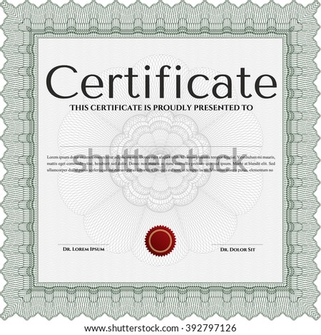 Classic Certificate template. Money Pattern design. With great quality guilloche pattern. Award. Green color.