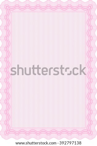 Classic Certificate template. Money Pattern design. With great quality guilloche pattern. Award. Pink color.