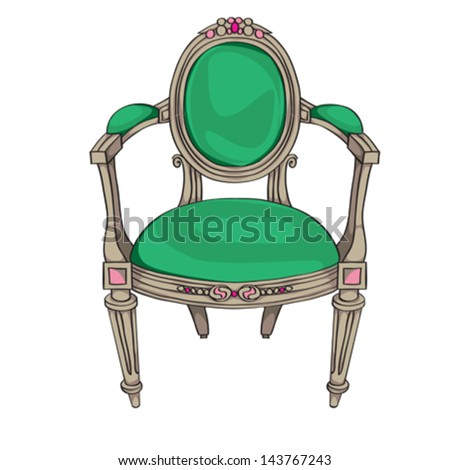 Classic chair colored doodle, hand drawn illustration of an antique furniture piece with green upholstery and oval ornaments