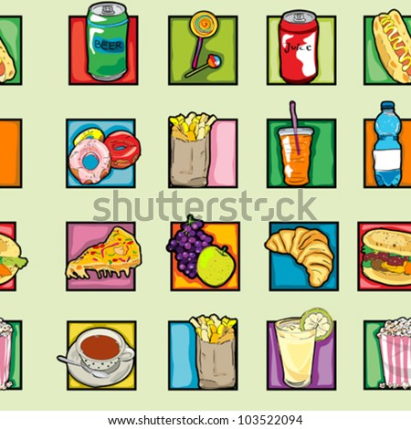 Classic clip art icons pattern with cheeseburger, pizza, beer, soda, coffee, lollipop, juice, croissant, french, fries, fruits, pop art retro graphics