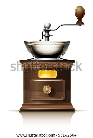 classic coffee grinder in wooden case vector illustration isolated on white background #63162604