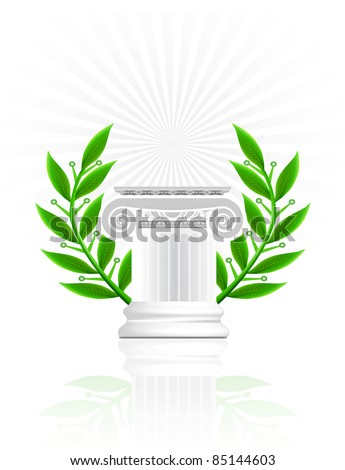 classic column with laurel wreath. Winner pedestal concept illustration
