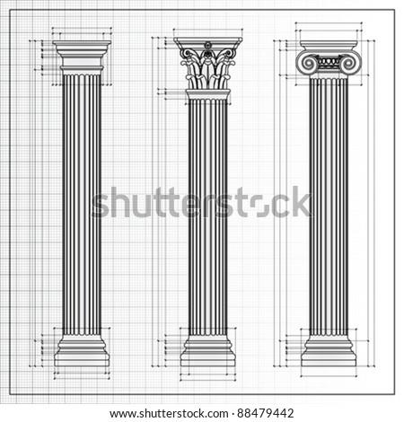 classic columns background sketch isolated on white, vector