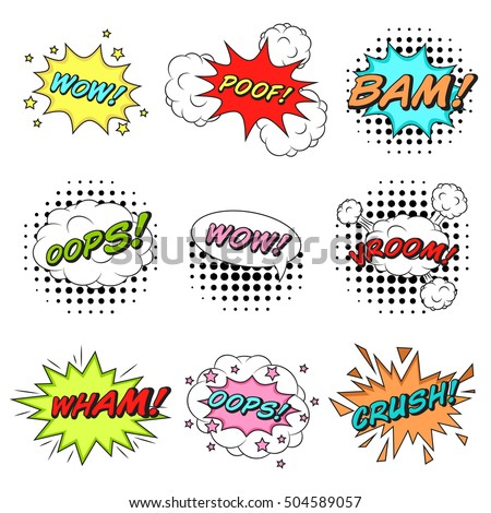 Classic comics book speech stickers set with cloud bubbles, explosion stars, pop-art dot patterns.