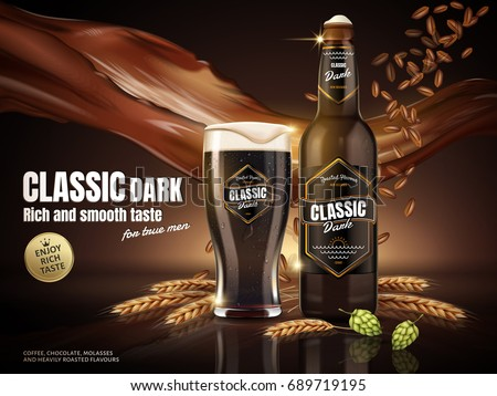Classic dark beer ads, attractive classic dark beer in glass bottle with malt and beverage floating in the air, 3d illustration
