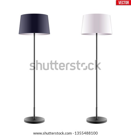 Classic Decorative Floor Lamp Original Sample Model with Black and White Silk Shade For Loft, Living Room, Bedroom, Study Room and Office. Vector Illustration isolated on white background.