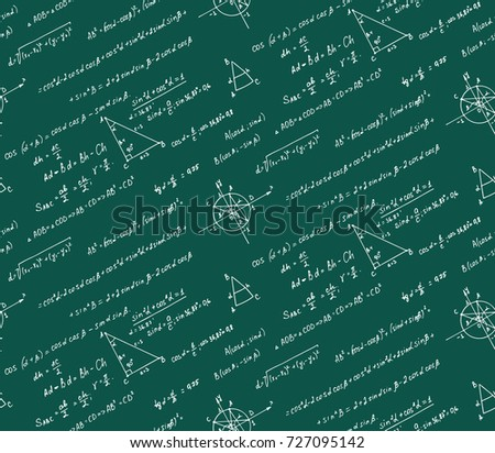 Classic  education background. Trigonometry law theory and mathematical formula equation on school board. Vector hand-drawn seamless pattern.