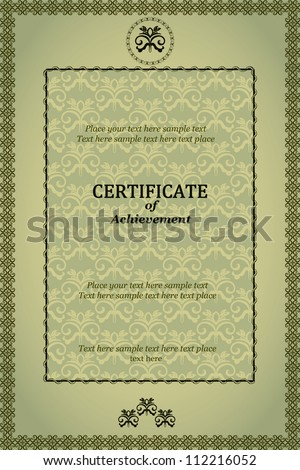 Classic elegant certificate of achievement, luxury green colored