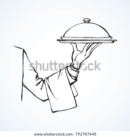 Classic elegant waitress palm give dome lid on white backdrop. Freehand outline black ink drawn picture order logo sign  sketchy in retro art doodle cartoon etch style pen on paper with space for text