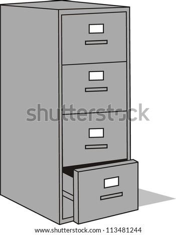 classic file cabinet - stock vector