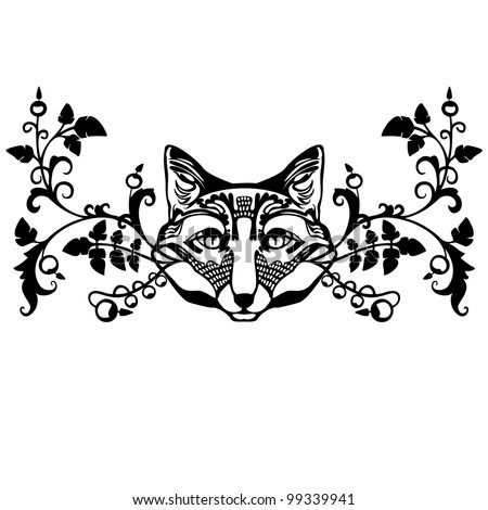 Classic Floral Ornament Element With Fox Head Stock Vector ...