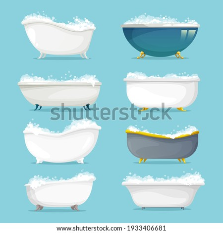 Classic freestanding bath with shampoo, soap foam set. Empty metal or ceramic retro bathtubs on gold, brass or copper clawfoots, filled with bubbles cartoon vector. Round, pedestal and slipper tubs Foto d'archivio ©