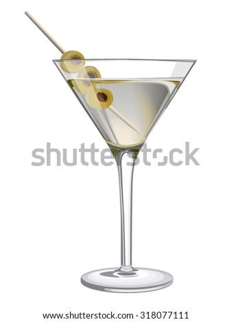 classic glass of dry martini