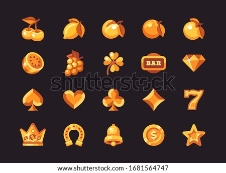 Classic gold slot machine symbol collection on dark background. Casino flat icons