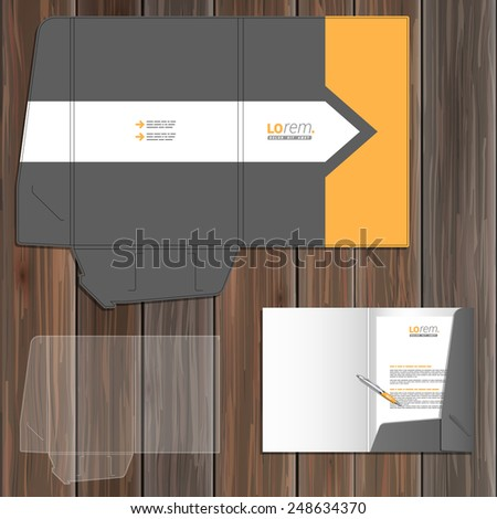 Classic gray folder template design for corporate identity with arrow and orange element. Stationery set