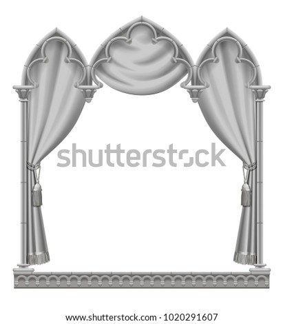 Classic gray gothic architectural decorative frame with curtain. Vintage design element, cover and poster template isolated on white. Vector Illustration