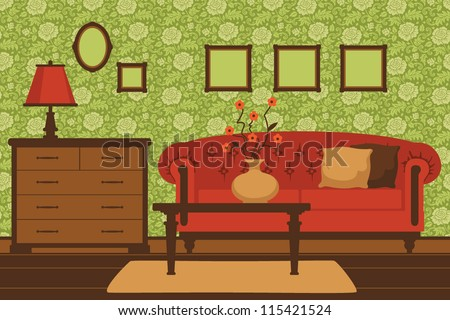 classic green livingroom
