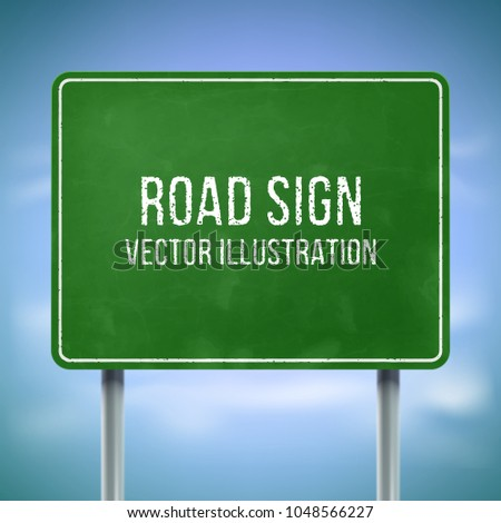 Classic green traffic information sign. Highway road sign mockup. Blank street sign. Road direction sign for information or map. Photo stock ©