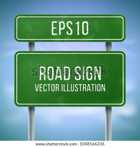 Classic green traffic information sign. Highway road sign mockup. Blank street sign. Road direction sign for information or map.