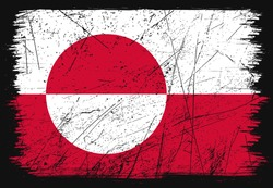 Classic grunge flag of Greenland country. Happy national day of Greenland. Brush flag on shiny black background