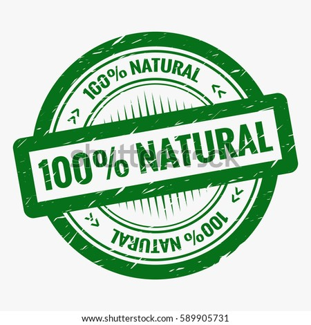 Classic grunge rubber stamp with 100% natural label isolated on white background. Vintage green round badge banner template design. Grunge effect can be edited or removed (Opacity mask). Vector eps10.