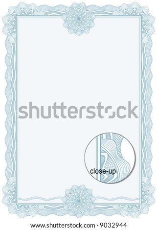 Classic guilloche border for diploma or certificate. A4