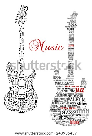 classic guitars with words and