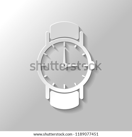 Classic hand watch with arrows, icon. Paper style with shadow on gray background