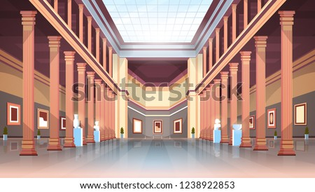 classic historic museum art gallery hall with columns and glass ceiling interior ancient exhibits and sculptures collection flat horizontal