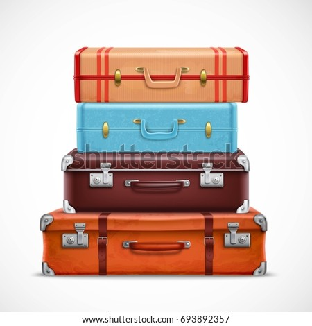 Classic leather retro travel suitcases pile brown blue with straps front view realistic 3d set vector illustration