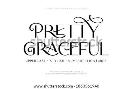Classic lettering minimal fashion designs. Elegant alphabet letters font and number. Typography fonts regular uppercase, lowercase, alternate, and ligatures. Vector illustration design. Photo stock ©