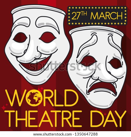Classic masks representing comedy and tragedy in flat style, outline and long shadow over a stage with red curtains promoting with a lighted sign the World Theatre Day this 27th March.