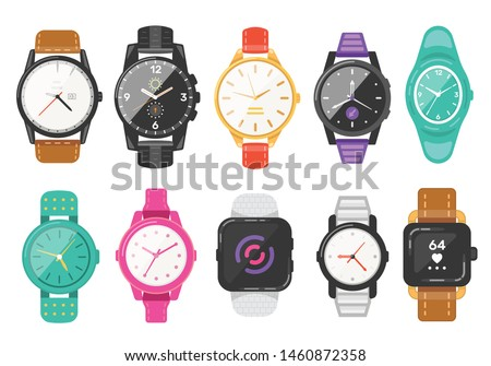Classic men's and women's watches set of vector icons. Watch for businessman, smartwatch and fashion clocks collection. Foto stock ©