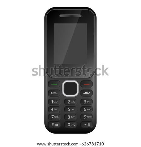 Classic mobile cell phone. Old mobile cell phone. Black button old mobile cell phone isolated on white background - vector illustration. Cell phone on white background.