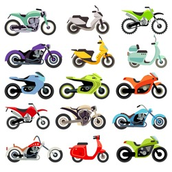 Classic motorcycle motorbike flat vector icons. Set of speed motorcycle, illustration set of motobike for transportation