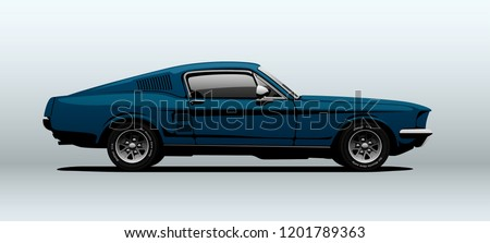 classic muscle car in vector