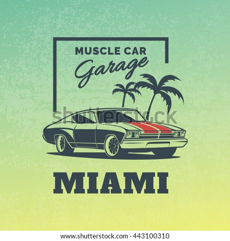 classic muscle car logo on