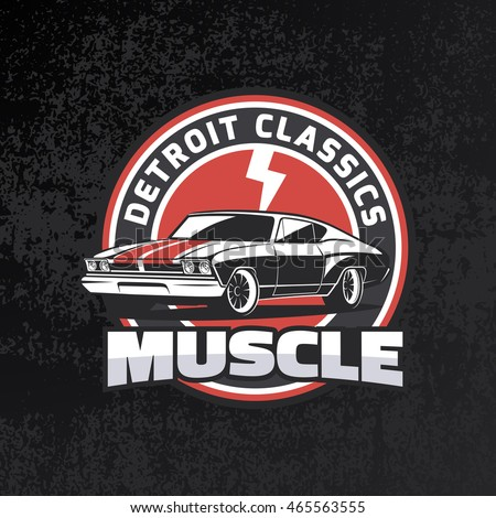 classic muscle car round ebmlem