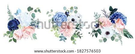 Classic navy blue, white, blush pink rose, hydrangea, ranunculus, dahlia, anemone, peony, thistle flowers, greenery and eucalyptus wedding vector bouquets.Trendy color collection.Isolated and editable
