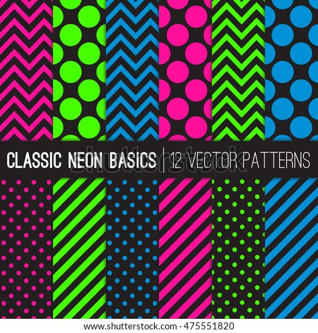 Classic Neon Colors Vector Patterns in Polka Dots, Chevron and Stripes. Fluorescent Lime, Pink and Blue Geometric Basics. Glow in the Dark Backgrounds. Pattern Swatches Made with Global Colors.
