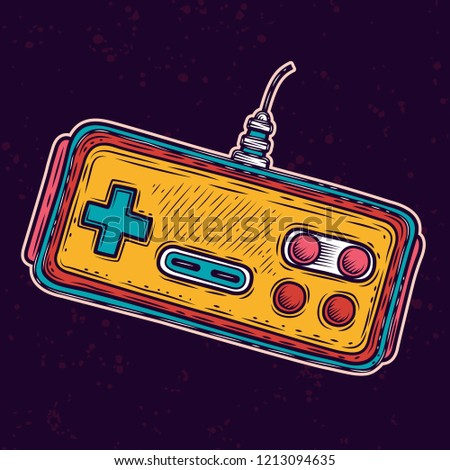 Classic old-school gamepad. Vector illustration.